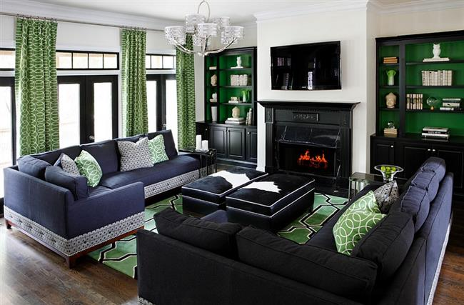 Зеленый цвет в оформлении современной гостиной.