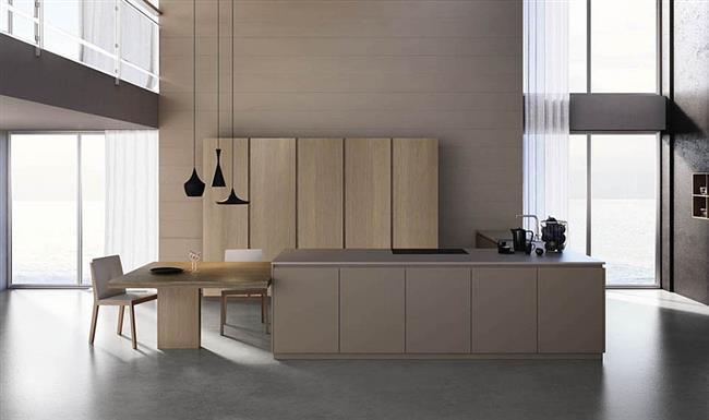 Элегантная кухонная зона в стиле минимализм.