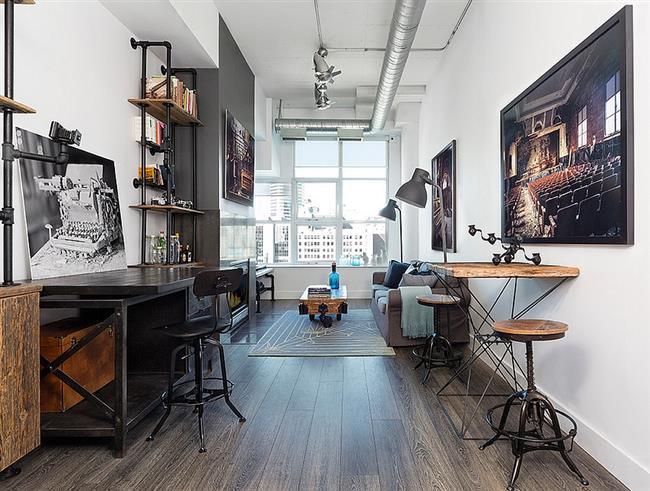 Просторный домашний офис в индустриальном стиле.