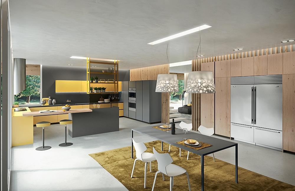 Современная кухня в желтых и серых тонах.