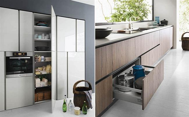 Вместительные шкафы и полки итальянской кухни.
