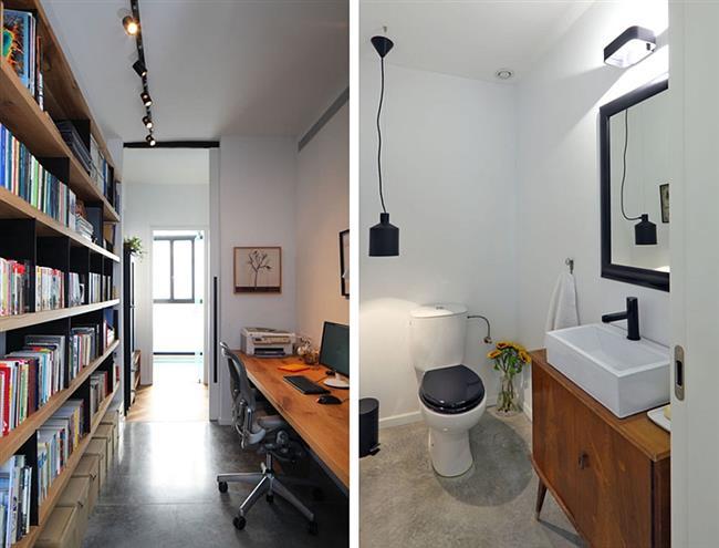 Стильный кабинет хозяина и уборная для гостей.