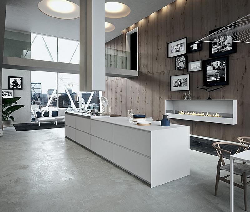 Большой рабочий стол из белого пластика в кухонной зоне.