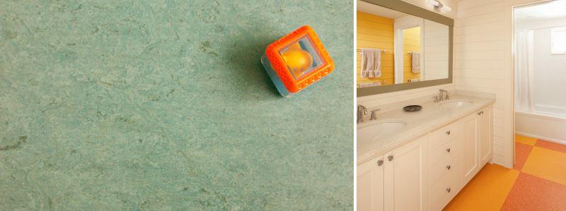 Покрытие пола мармолеумом: многообразие цветов и оттенков позволит создать уникальные цветовые композиции в любой комнате дома.