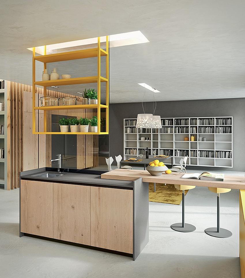 Кухонная зона, плавно переходящая в обеденную.