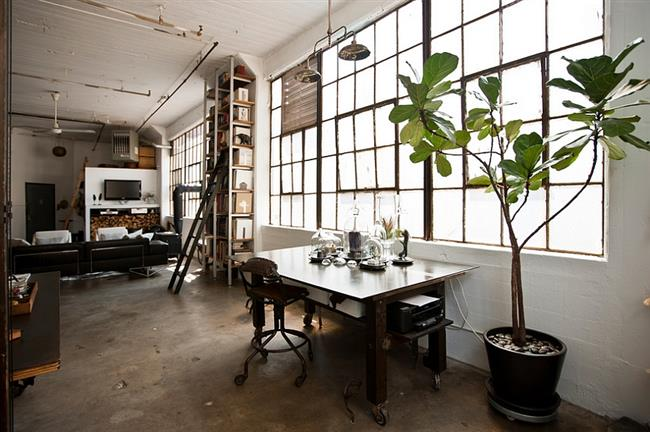 Строгий кабинет в индустриальном стиле, оживленный комнатным растением.