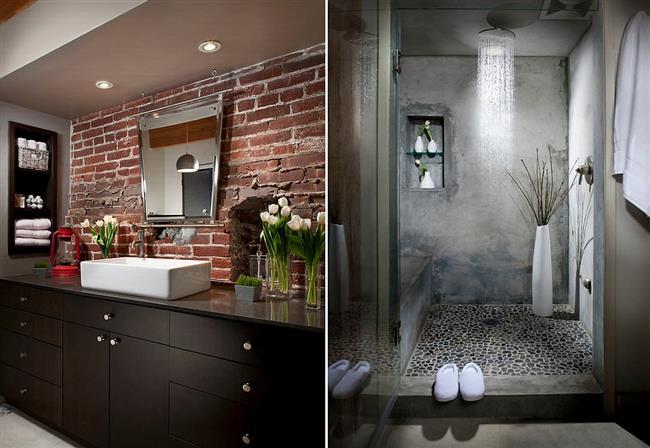 Ванная комната в традиционном индустриальном стиле.