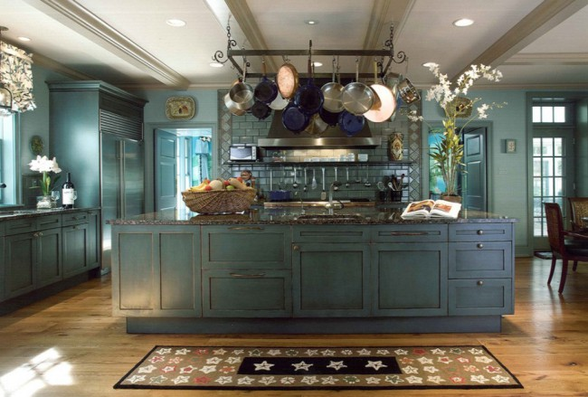 blue-kitchen-with-pot-rack