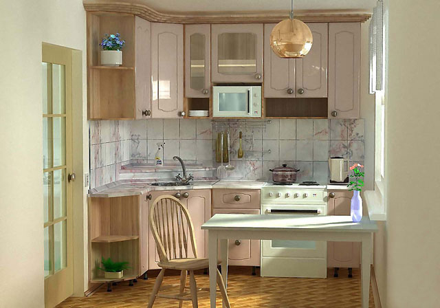 Для маленькой кухни можно заказать мебель по индивидуальному проекту