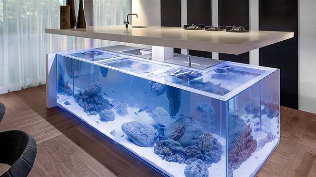 Необычный кухонный рабочий стол с огромным аквариумом.