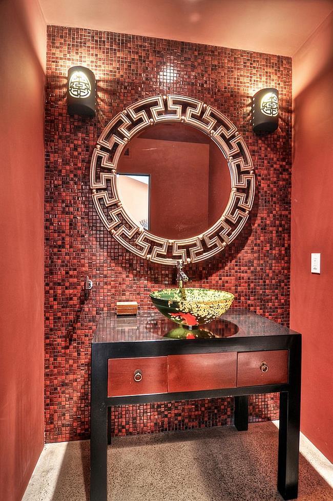 Стильная ванная комната в азиатском стиле.