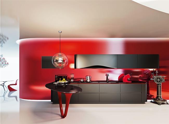 Стильная яркая кухня, напоминающая Феррари.