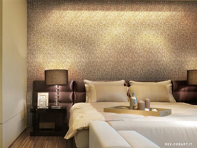 Светло и темно-коричневая круглая мозаика для украшения стен спальни.
