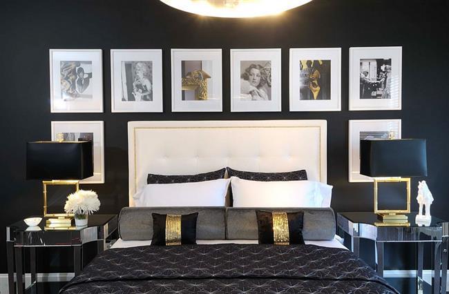 Классическая спальня в черно-белых тонах с элементами золотого.