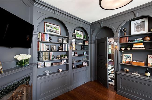 Темно-серый цвет в интерьере стильного кабинета.