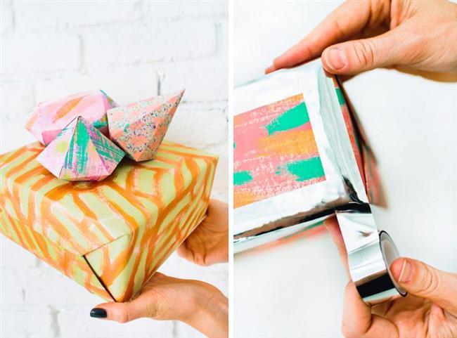 Креативные подарки, украшенные красочными оригами.
