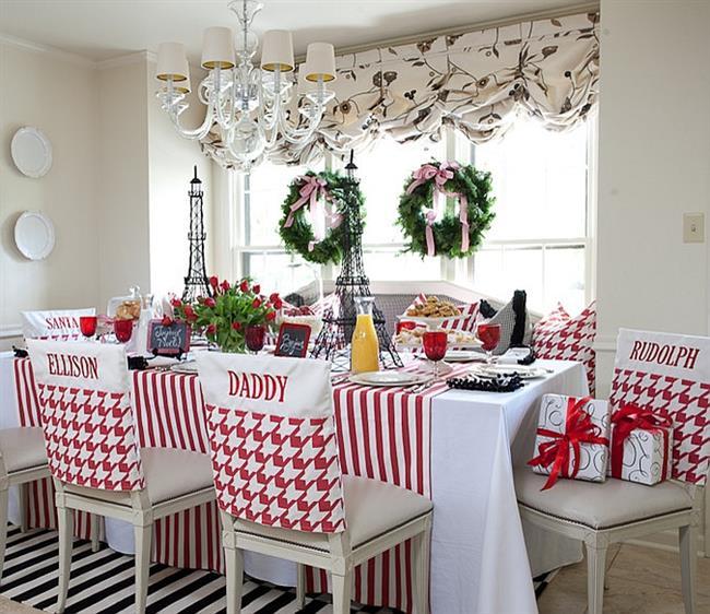 Красный и зеленый цвета в праздничной кухне.