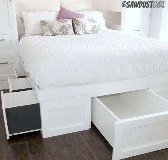 Выдвижные ящики многофункциональной кровати.