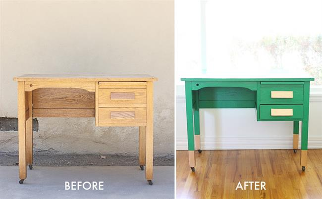 Стол в ретро-стиле до модернизации и после.