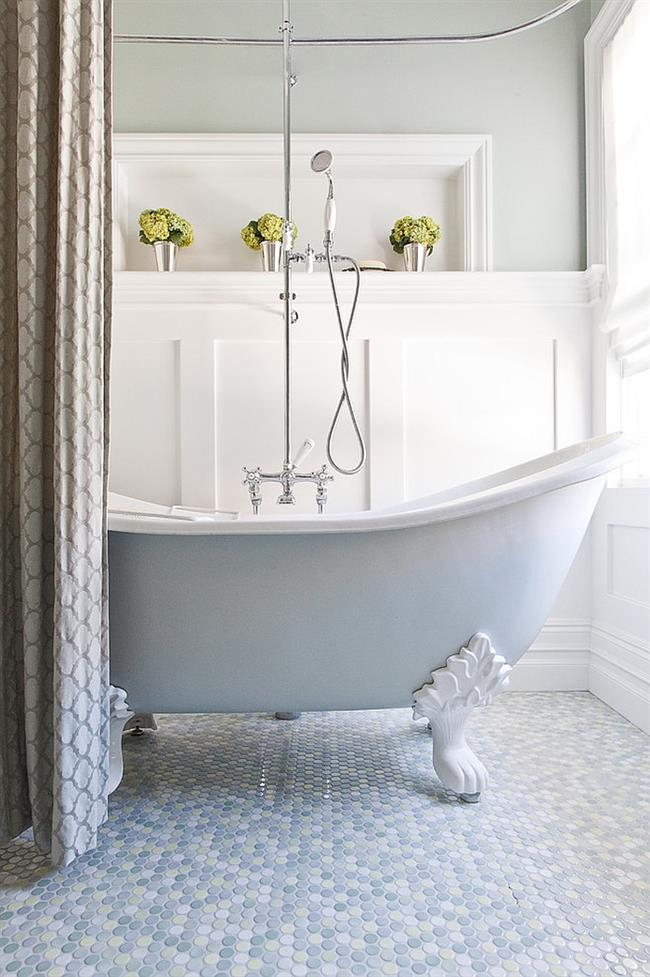 Круглая плитка для оформления пола ванной комнаты.