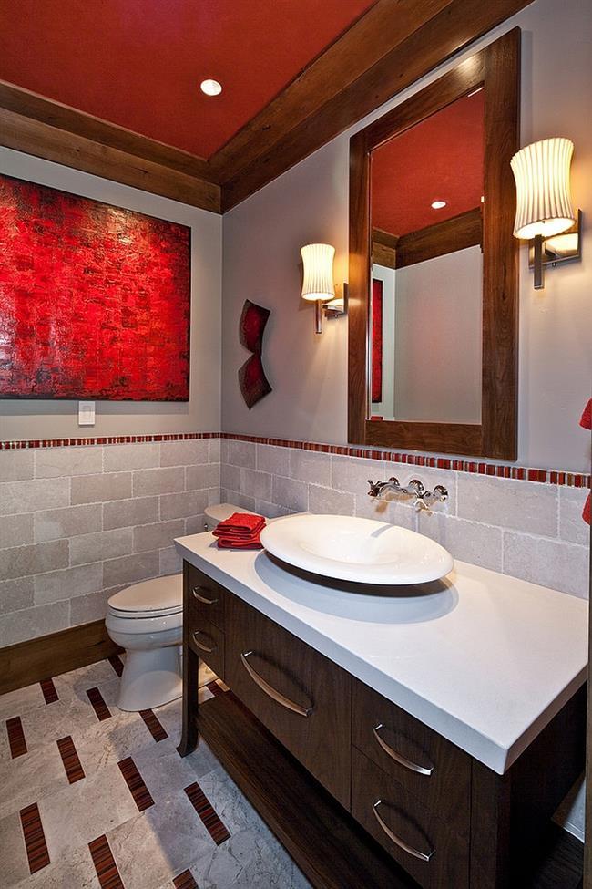 Модная ванная красного цвета в современном стиле.
