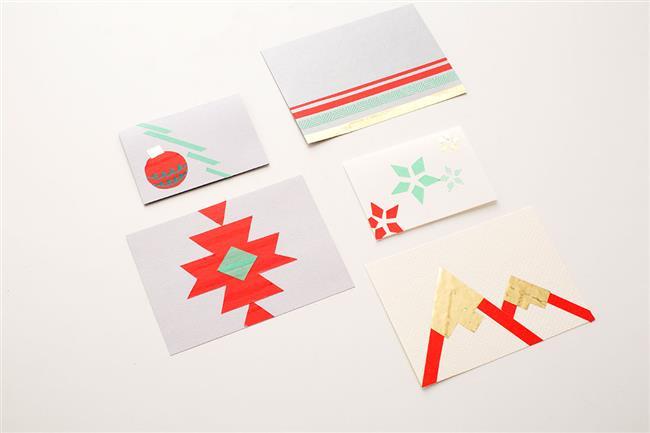 Креативные открытки с разноцветными узорами.