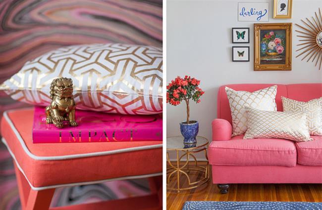 Уютная гостиная в теплых тонах золотого, розового и персикового цветов.