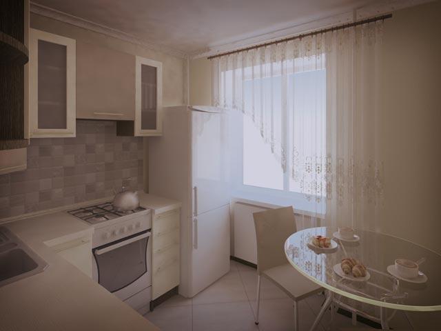 Грамотное расположение мебели способное скрасить недостатки маленькой площади кухни