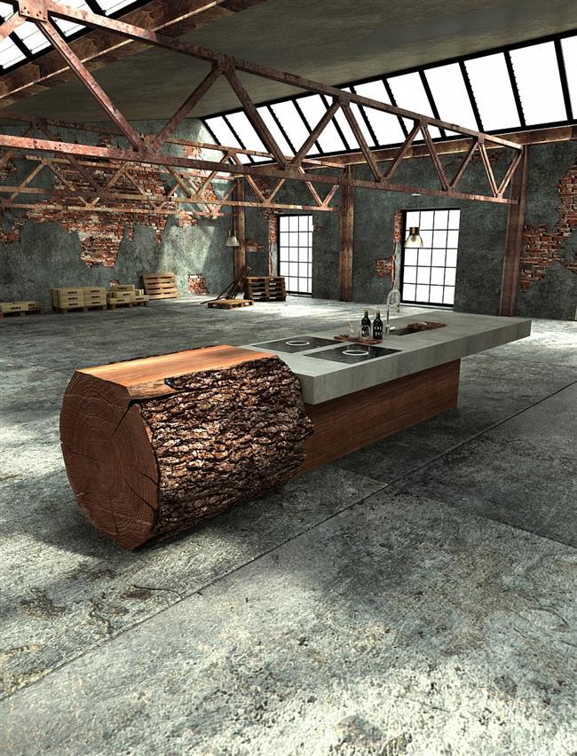 Кухонная мебель из дуба в индустриальной кухне.