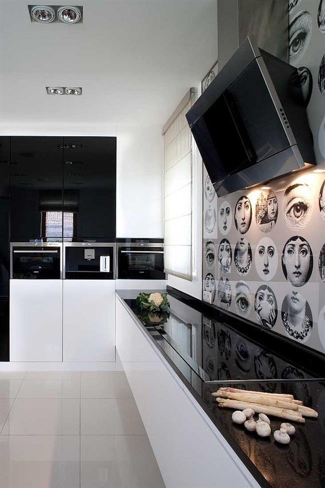 Кухня современного дома с портретами Лины Кавальери.