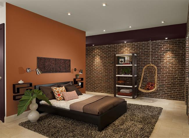 Роскошная спальня в оранжево-коричневых тонах и оттенках.
