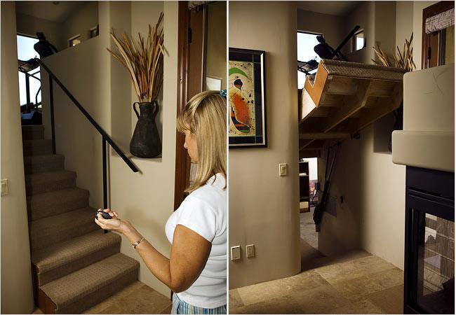 Потайной ход в библиотеку и домашний кабинет, скрытый за лестницей.
