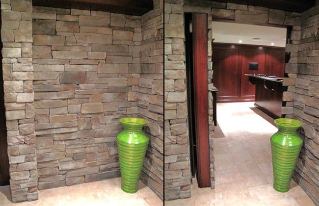 Стильный деревянный кабинет за массивной каменной стеной.