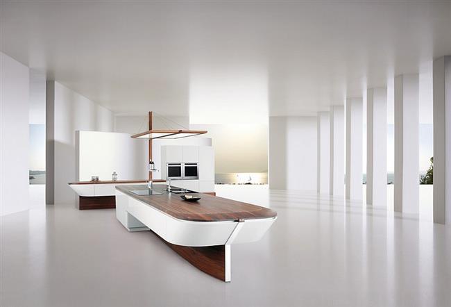 Необычная кухня-парусник в минималистическом стиле.