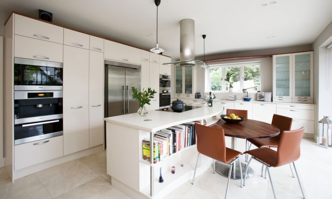 White-scandinavian-kitchen-design-and-brown-dining-table-and-chairs-with-curved-kitchen-table-and-creative-bookcase-and-simple-windows-and-modern-cabinet