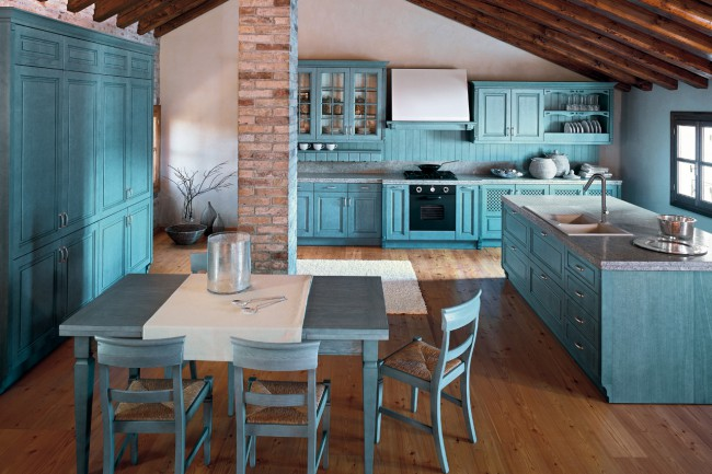 antique-blue-sharp-kitchen-set-design