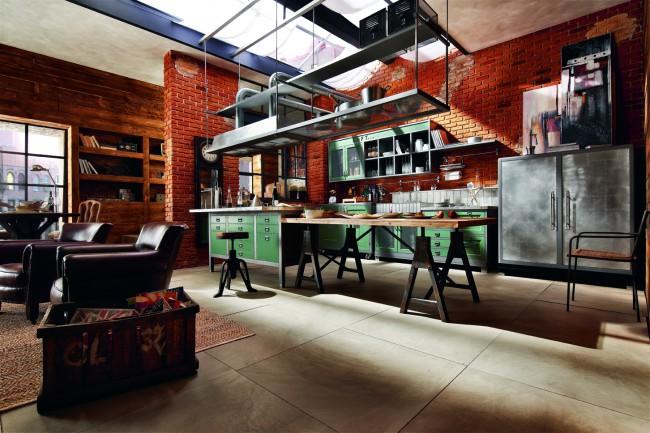 Кухня лофт - это огромное пространство и прогрессивные элементы декора
