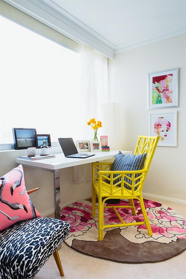 Яркий, необычный домашний кабинет в морском стиле.