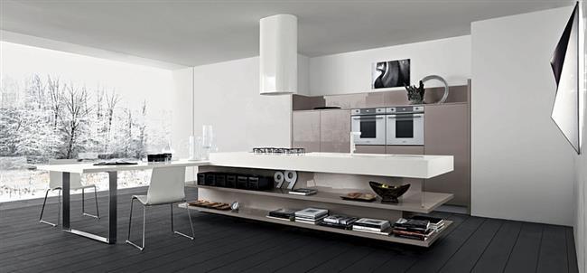 Необычный рабочий стол в минималистической кухне.