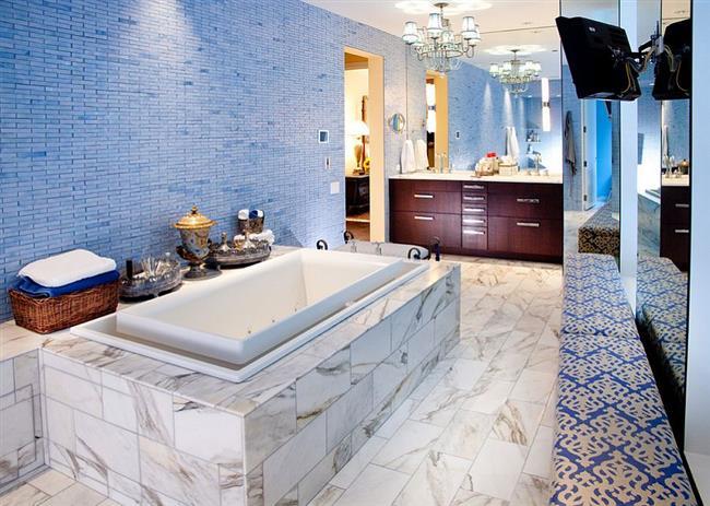 Интерьер ванной в эклектическом стиле.