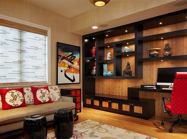 Домашний кабинет в красных и черных цветах.