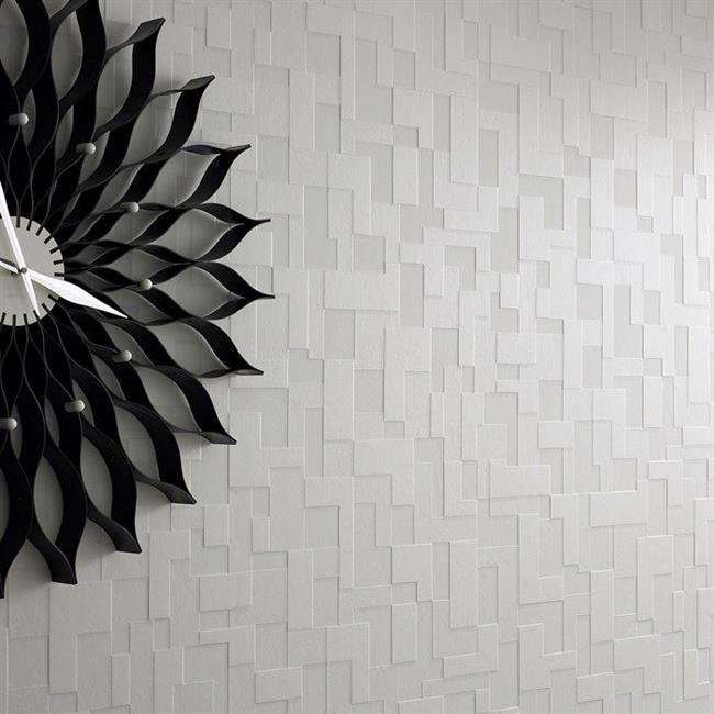 Геометрические элегантные обои в интерьере спальни.