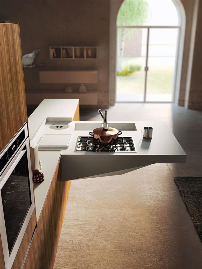 Выдвижная панель современной кухни.