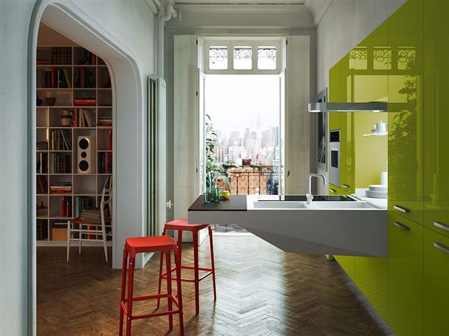 Ярко-зеленая многофункциональная мебель в узкой кухне.