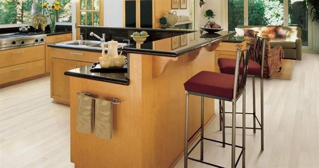Ламинат в стильной кухне в современном стиле.