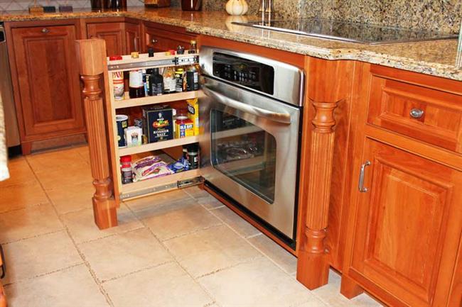 Выдвижные стеллажи в панели кухонного шкафа.