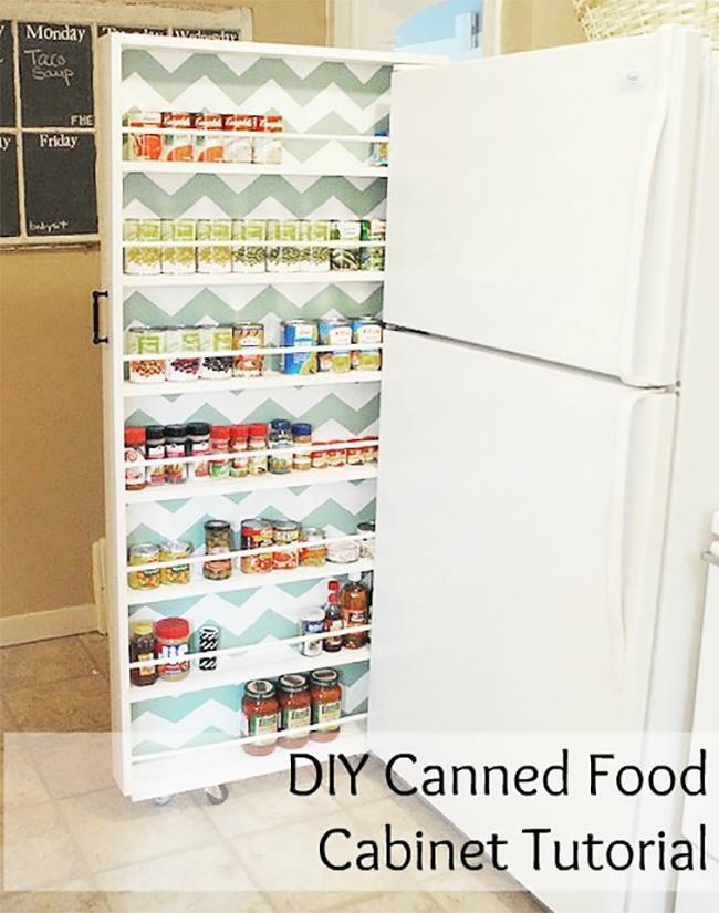 Выдвижной шкаф с полками возле холодильника.