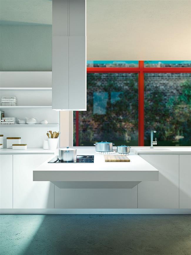 Многофункциональная мебель в современной стильной кухне.