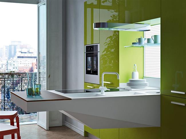 Современная кухонная мебель в минималистической кухне.