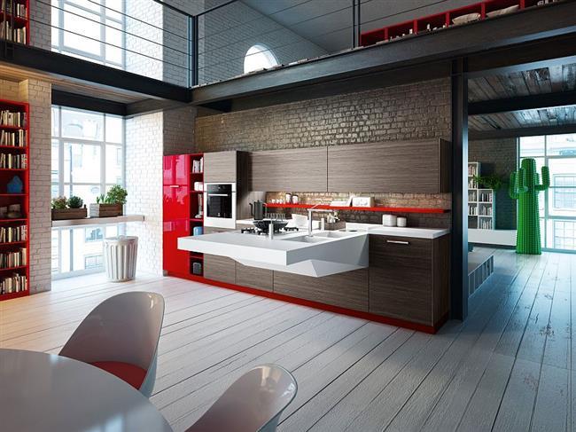 Стильная мебель в современной индустриальной кухне.